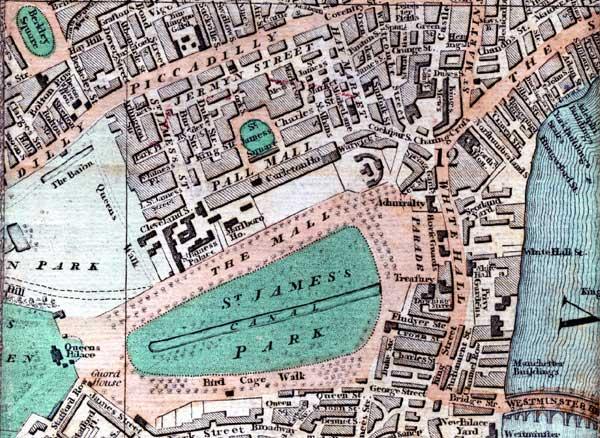 The Mall London Map.Jane Austen Gazetteer Sense And Sensibility Pall Mall